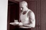 Pitbull (rapper) (entertainer) recording in Tokyo hotel room